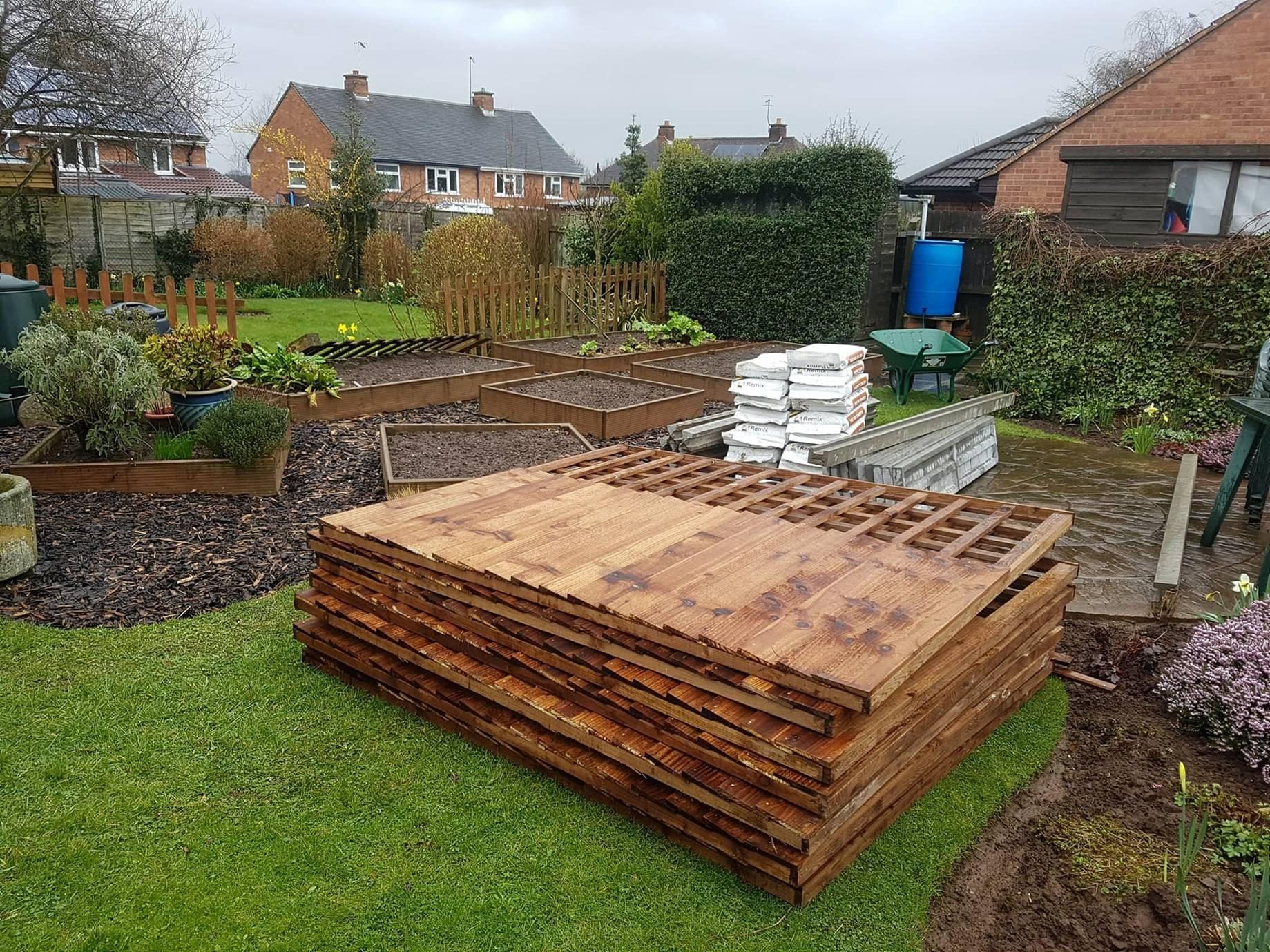 The Panels Ready To Be Used In This Picture Are Combination, Mixing Close Board And Trellis Fencing