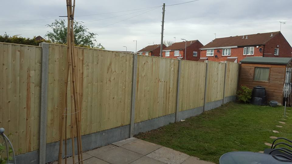 This Picture Demonstrates A Close Board Style Fence Using Concrete Posts And Concrete Gravel Boards
