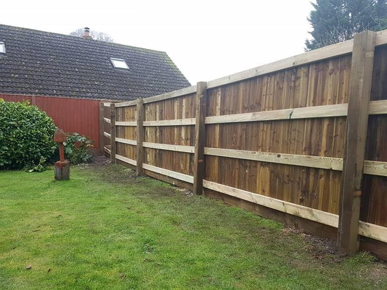 This Is A Running Close Board Style Fence, This View Is Of The Back, The Front Appears Seamless Without Sections For Posts